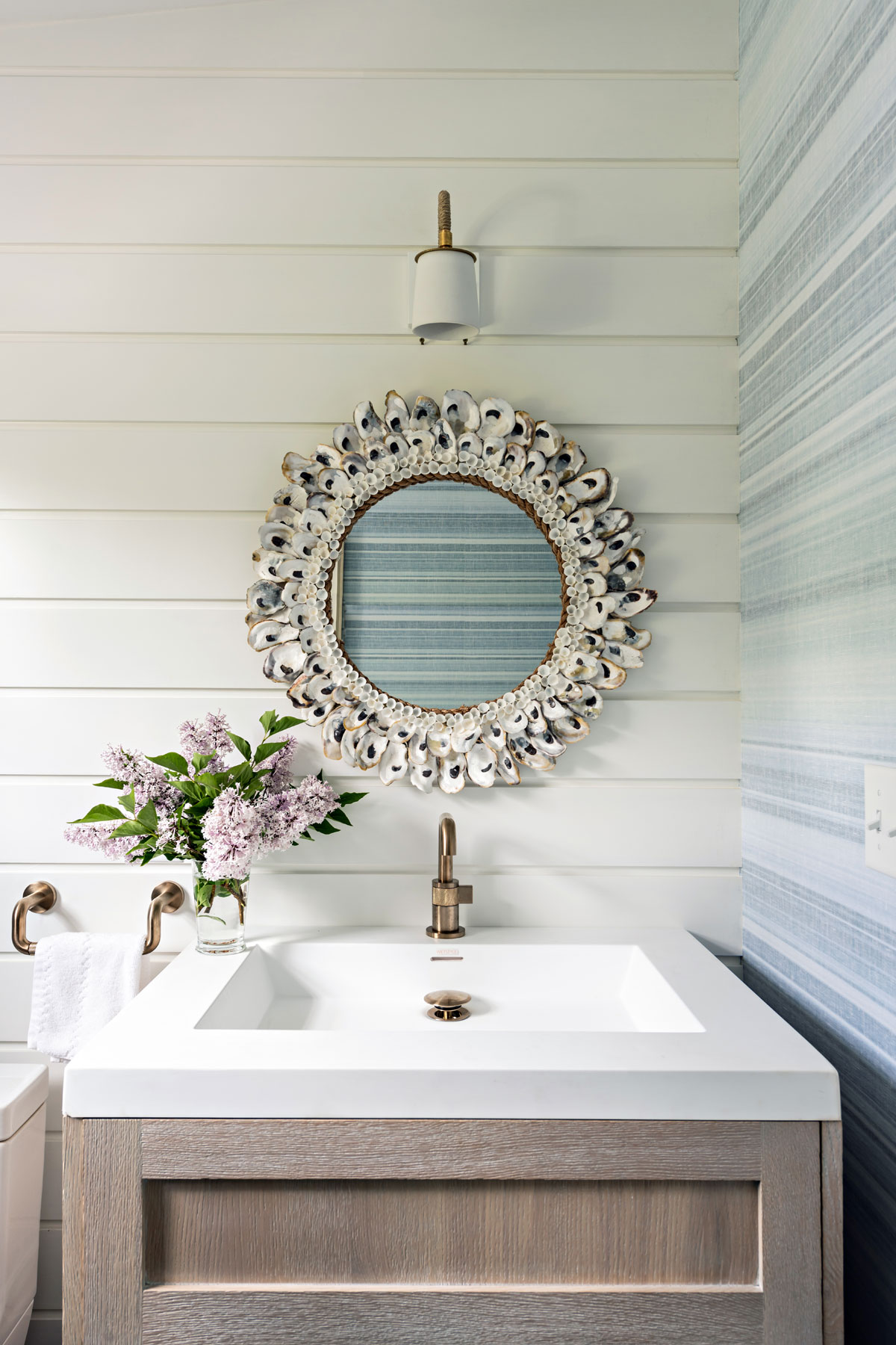 Powder Room with Shell Mirror