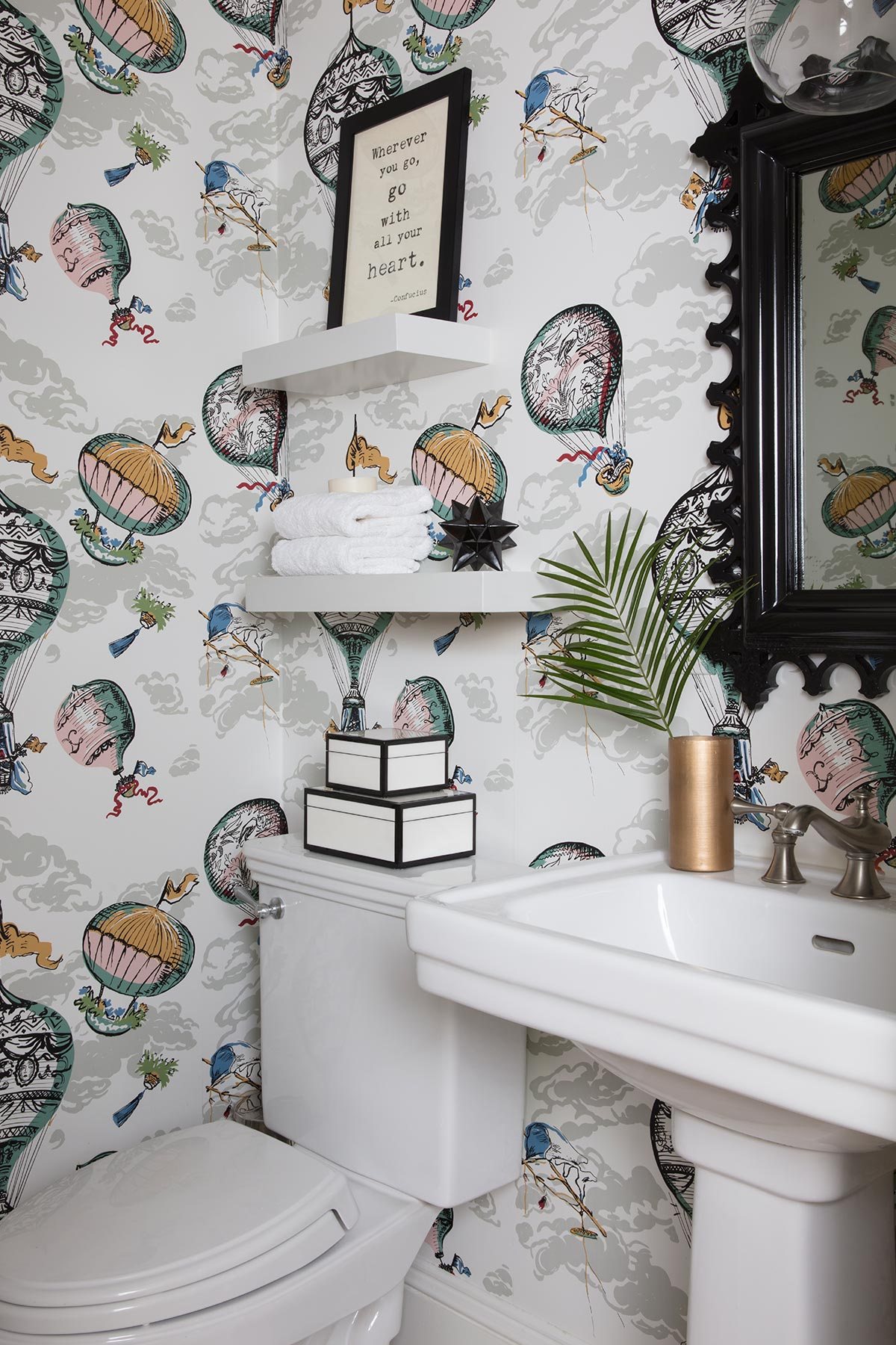 Powder Room with Hot Air Balloon Wallpaper