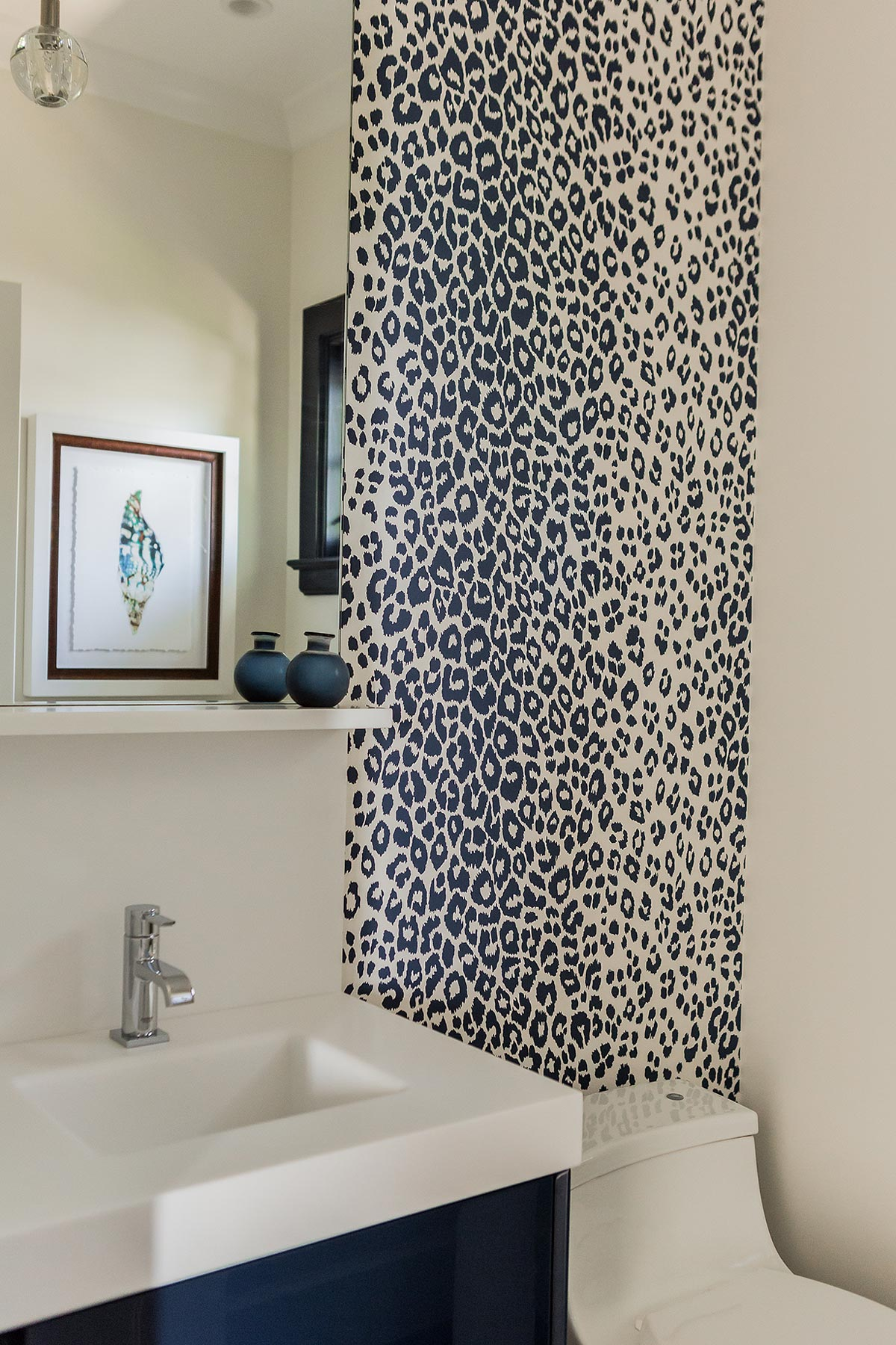 Powder Room with Navy Leopard Print Wallpaper